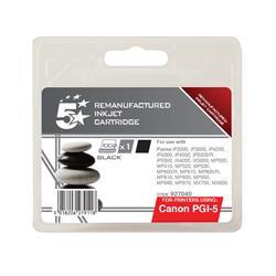 5 Star Office Remanufactured Inkjet Cartridge Page Life 520pp Black [Canon PGI-5BK Alternative]