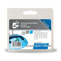 5 Star Office Remanufactured Inkjet Cartridge Capacity 3.3ml Cyan [Epson C13T18024010 Alternative]