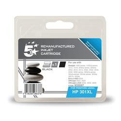 5 Star Office Remanufactured Inkjet Cartridge Page Life 480pp Black [HP No. 301XL CH563EE Alternative]