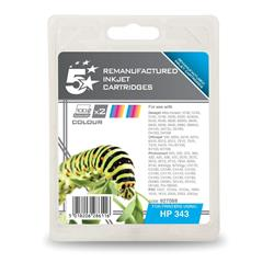 5 Star Office Remanufactured Inkjet Cartridge 520pp Colour [HP No 343 CB332EE Alternative] [Pack 2]