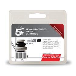5 Star Office Remanufactured Inkjet Cartridge Page Life 350pp Black [Canon PGI-520BK Alternative]