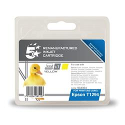 5 Star Office Remanufactured Inkjet Cartridge Capacity 7ml Yellow [Epson T12944011 Alternative]