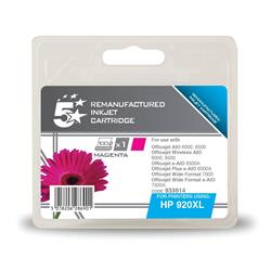 5 Star Office Remanufactured Inkjet Cartridge Page Life 700pp Magenta [HP No. 920XL CD973AE Alternative]