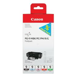 Canon Ink Cartridge PGI9 Multi-Pk Black/Photo Cyan/Photo Magenta/Red/Green Ref 1033B013