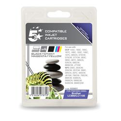 5 Star Office Remanufactured Inkjet Cartridges 450pp 4-Colour [Brother LC1100VALBP Alt] [Pack 4]