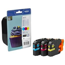 Brother Inkjet Cartridge Rainbow Pack Page Life 600pp Cyan/Magenta/Yellow Ref LC123RBWBP (Pack 3)