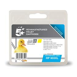 5 Star Office Compatible Inkjet Cartridge Page Life 825pp Yellow [HP No. 933XL CN056AE Alternative]