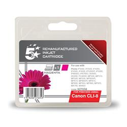 5 Star Office Remanufactured Inkjet Cartridge Page Life 715pp Magenta [Canon CLI-8M Alternative]