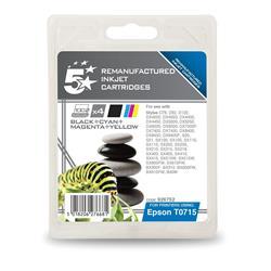 5 Star Office Remanufactured Inkjet Cartridges Black/Colour [Epson T07154010 Alternative] [Pack 4]