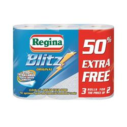 Regina Blitz Kitchen Towel No Smears Recycled Pure Pulp 70 Sheets per Roll White Ref 1105180 [Pack 3]