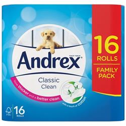Andrex Classic Toilet Roll 2-ply White Ref 1102122 [Pack 16]
