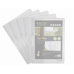 Seco Clip Files Biodegradable Capacity 30 Sheets A4 Translucent Clear Ref 8342-CL [Pack 5]