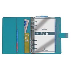 Collins Paris Personal Organiser Padded Leather With 2017 Diary Insert 172x96mm Teal Ref PR2860