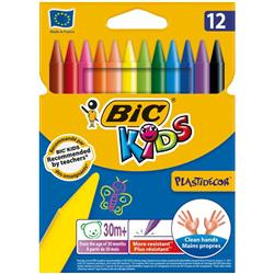 Bic Kids Plastidecor Crayons Colour Hard Long-lasting Sharpenable Vivid Assorted Ref 920299 [Pack 12]