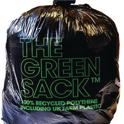 The Green Sack Refuse Sacks Light Duty Under 10kg Capacity Black Ref 703001 [Pack 200]