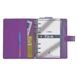 Collins Paris Personal Organiser Padded Leather With Diary Insert 172x96mm Purple Ref PR2855