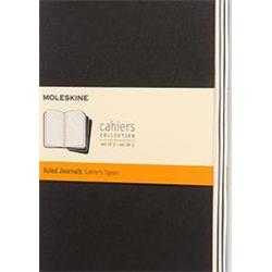 Moleskine Cahier Journal Card Cover Ruled 80pp 70gsm Large 130x210mm Black Ref QP316 [Pack 3]