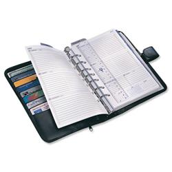 Collins Balmoral Desk Organiser 7 Ring Leather With 2017 Diary Insert 216x140mm Black Ref DK4699