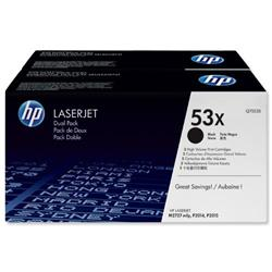 HP 53X 2-pack High Yield Black Original LaserJet Toner Cartridges (Q7553XD) - £20 Cashback