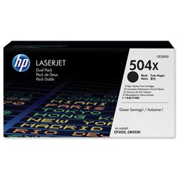 Hewlett Packard HP No. 504X Laser Toner Cartridge Page Life 2x10500pp Black Ref CE250XD - Pack 2 - £20 Cashback