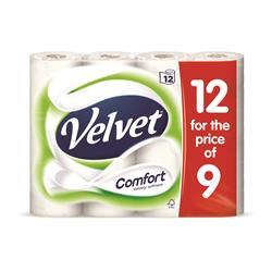 Velvet Comfort Toilet Rolls 116x104.5mm 210 Sheets 24.4m 2-ply White Ref 1102092 [Pack 9 Plus 3 FREE]
