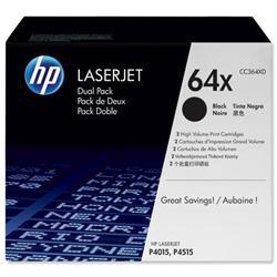 HP 64X 2-pack High Yield Black Original LaserJet Toner Cartridges (CC364XD) - £20 Cashback