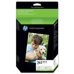 Hewlett Packard HP No. 363 Photo Pack Inkjet Cartridges + Paper 10x15cm 150 Sheet 6 Colour Ref Q7966EE