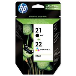 Hewlett Packard HP No. 21/No. 22 Inkjet Cartridge Page Life 250pp 5ml Black/Colour Ref SD367AE - Pack 2