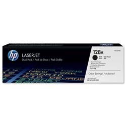 Hewlett Packard HP No. 128A Laser Toner Cartridge Page Life 2000pp Black Ref CE320AD - Pack 2 - £20 Cashback