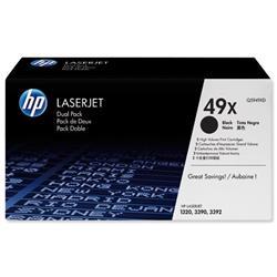HP 49X 2-pack High Yield Black Original LaserJet Toner Cartridges (Q5949XD) - £20 Cashback