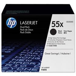HP 55X 2-pack High Yield Black Original LaserJet Toner Cartridges (CE255XD) - £20 Cashback