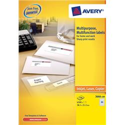 Avery Multifunction Copier Labels 65 per Sheet 38.1x21.2mm White Ref 3666 - 6500 Labels