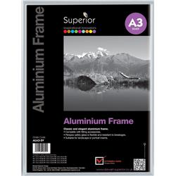 Photo Frame Clip In Aluminium with Clear Perspex Front A3