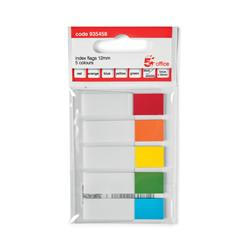 5 Star Office Index Flag 5 Bright Colours 12.5x50mm 5 Packs of 20 Flags [100 Flags]