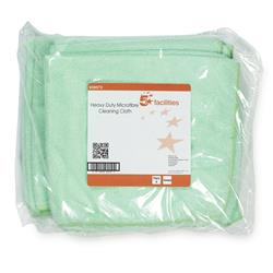5 Star Facilities Microfibre Cloth Reusable Edge Bonded 400x400mm 250gsm Green [Pack 5]