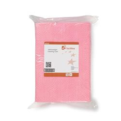 5 Star Facilities Cleaning Cloths Anti-microbial Heavy-duty 76gsm W500xL300mm Red [Pack 25]