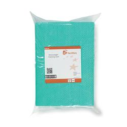 5 Star Facilities Cleaning Cloths Anti-microbial Heavy-duty 76gsm W500xL300mm Green [Pack 25]