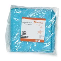 5 Star Facilities Microfibre Cloth Premium Reusable Edge Bonded W400xL400mm 250gsm Blue [Pack 5]
