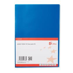 5 Star Office Folder Cut Flush Polypropylene Copy-safe Translucent 120 Micron A4 Blue [Pack 25]