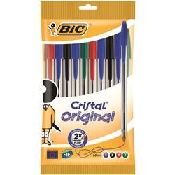 Bic Cristal Ball Pen Clear Barrel 1.0mm Tip 0.4mm Line Assorted Ref 830865 [Pack 10]