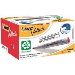 Bic Velleda 1701 Whiteboard Marker Bullet Tip Line Width 1.5mm Red Ref 1199170103 - Pack 12