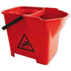 Bentley Colour Coded  Mop Bucket Heavy Duty 16 Litre Capacity Red Ref SPCMB16R
