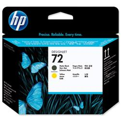Hewlett Packard HP No. 72 Matte Black and Yellow Printhead Ref C9384A