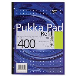 Pukka Pad Refill Pad Sidebound Ruled with Margin Punched 80gsm 400pp A4 White Ref REF400 [Pack 5]