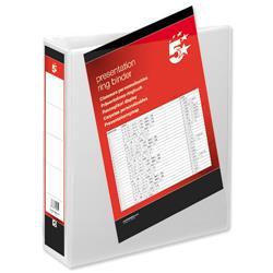 5 Star Office Presentation Ring Binder Polypropylene 2 D-Ring 65mm Size A4 White [Pack 10]