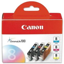Canon CLI8 Inkjet Cartridge Cyan/Magenta/Yellow Ref CLI-8 - Pack 3