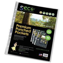 SSeco Punched Pockets Polypropylene Oxo-biodegradable Multipunched A4 Clear Ref PP80 [Pack 50]