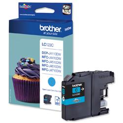 Brother Inkjet Cartridge Page Life 600pp Cyan Ref LC123C