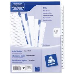 Avery Index Unpunched 1-20 White A4 Ref 05242061 - Pack 5