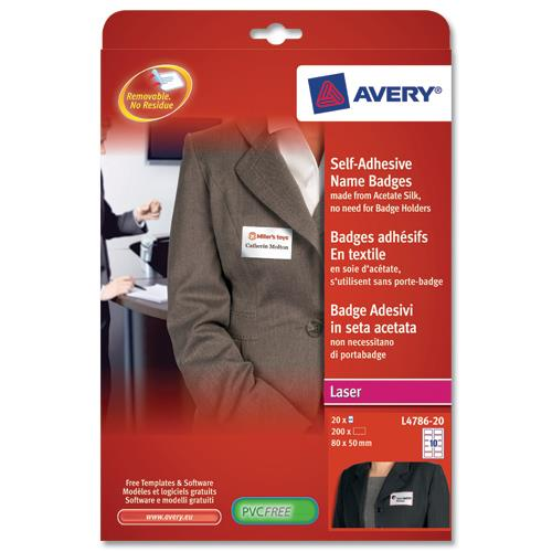 avery l4786 name badge self adhesive labels 80x50mm red border ref